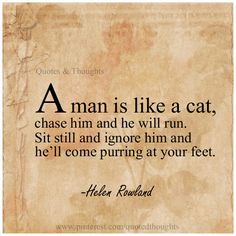 A man is like a cat, chase him and he will run. Sit still and ignore him and he'll come purring at your feet. quotes Share and enjoy! Now Quotes, Great Quotes, Words Quotes, Quotes To Live By, Motivational Quotes, Life Quotes, Funny Quotes, Inspirational Quotes, Sayings