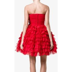 Dolce & Gabbana Dolce & Gabbana Bustier Ruffle Flower Dress ($6,530) ❤ liked on Polyvore featuring dresses, red cocktail dress, red strapless cocktail dress, beaded cocktail dress, red flared skirt and red strapless dress