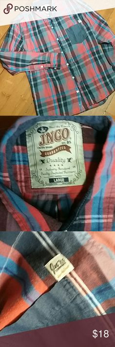 IN CO mens long-sleeve button-up flannel style shi Thin flannel. Super nice fitting men's shirt very attractive JNCO Shirts Casual Button Down Shirts