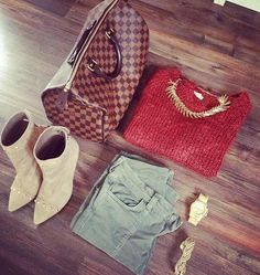 LV . leaf necklace . Cargos, a cozy sweater, & booties