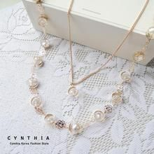 CYNTHIA - Rose Beaded Layered Long Necklace