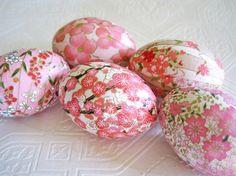 Easter Eggs Pink Easter Eggs Decoupage Eggs Origami Eggs cherry blossom floral pastel white