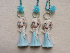 Necklace Elsa frozen in fimo polymer clay. by Artmary2 on Etsy, €12.00