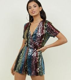 dd407755 Blue Vanilla Rainbow Sequin Wrap Playsuit