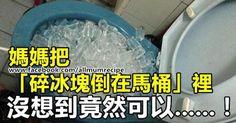 媽媽把「碎冰塊倒在馬桶」裡,沒想到竟然可以......!大家都一定要知道的「八個生活小常識」!!