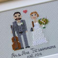 Custom WEDDING Cross Stitch Family Portrait by RussianStitches
