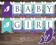 Instant Download Little Mermaid Baby Shower Banner, Baby Girl Bunting Banner, Aqua Teal Purple Bunting Flags, Mermaid Pendent Banner 70A by Studio20Designs on Etsy (null)