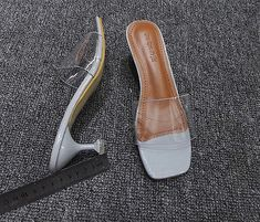 Women's Square Open Toe Patent Leather Clear High Heel Sandals Slippers Shoes