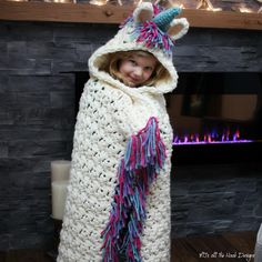 This is a PDF crochet Grammy I know a little girl who would LOve this! pattern for a Bulky & Quick Unicorn Blanket! Pattern also includes a Hooded Unicorn Cowl in toddler-adult size. Crochet Unicorn Blanket, Crochet Blanket Patterns, Crochet Stitches, Crochet Blankets, Crochet Afghans, Mermaid Blanket, Crochet Gratis, Free Crochet, Crochet Cape