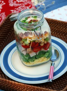 Layered Cornbread-and-Turkey Salad, a make-ahead recipe that's delicious and easy to assemble in advance for a potluck or barbeque and a crowd pleaser! #salad #picnic #LaborDay