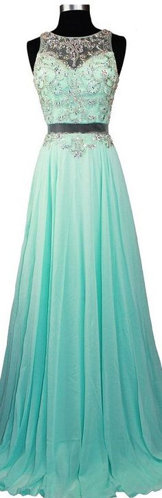 Fashionable Sexy Long Chiffon Prom Dresses Beaded Crystals Evening Gowns,Wedding Party Dresses, Cheap Celebrity Dresses