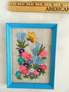 Vintage Crewel / Hand embroidered / flower crewel / framed crewel / cross stitch needlework / retro framed crewel