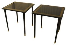 Lacquered End Table w/ Greek Key, Pair | Table Talk | One Kings Lane