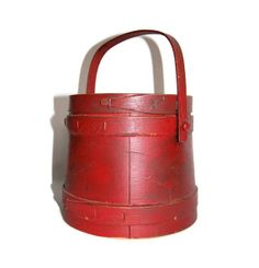 "Antique Red Firkin Mid-19th Century Original Shaker Style Primitive Handmade ""Sugar Box"" or Pantry Box Rustic Home Decor Collectibles on Etsy, $195.00"