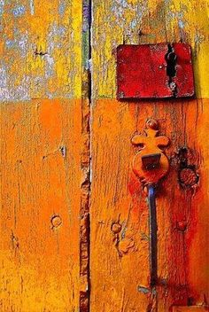 Orange, old wood not treated painted rough with original door knobs, vintage Knobs And Knockers, Door Knobs, Door Handles, The Doors, Windows And Doors, Wabi Sabi, Color Naranja, Orange You Glad, Happy Colors
