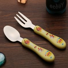 2pcs 2015 high quality cartoon kawaii bpa free kids tableware inox cutlery for baby spoon and fork feeding for children safety