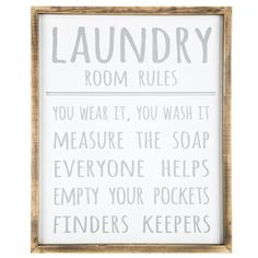 Laundry Room Rules MDF Sign