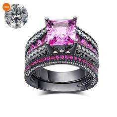 Princess Cut Pink Sapphire Black Gold Finish Her Bridal Ring Set With Free Gift #aonejewels