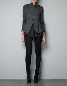 Zara Women Wool Herringbone Jacket