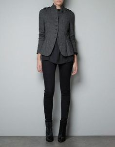 Zara Women Wool Herringbone Jacket