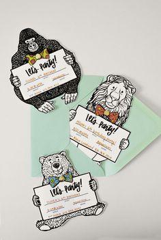 Invitaciones a fiesta con forma de animales / Animal Birthday Invitation / free printable