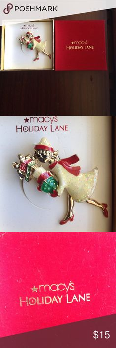 Macy's Holiday Lane Shopping Girl Brooch. NWT Brooch by Macy's Holiday Lane custom jewelry line. NWT Macy's Jewelry Brooches