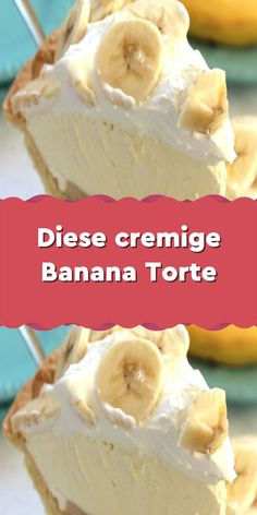 This creamy banana cake- Diese cremige Banana Torte You have probably never eaten such a delicious cake! Mhhh, who of you all like bananas? Coconut Recipes, Banana Recipes, Ice Cream Recipes, Smoothie Recipes, Easy Cookie Recipes, Snack Recipes, Frozen Puff Pastry, Cold Desserts, Chocolate Chip Recipes