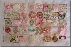 """39 squares"" by suzanne duda.   Clever embroidery-embellishment Sampler!"