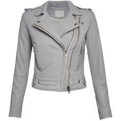 IRO Luiga Leather Jacket - Grey (1,845 CAD) ❤ liked on Polyvore featuring outerwear, jackets, coats, tops, leather jacket, grey, slim leather jacket, asymmetrical jacket, asymmetrical leather jacket and grey leather jacket