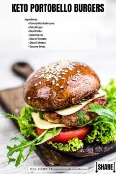 This Guilt-Free, quick, and easy to make Portobello Mushroom Keto Burger is super juicy and looks exactly like a real Burger Bun you would expect from a BBQ evening. Fully Grain-Free, Gluten-Free, Low Carb, and perfect for diabetics, this Portobello Mushroom Recipe together with Ground Beef Keto Burger is a must when you start thinking of grilling time. Best Salad Recipes, Vegetarian Recipes, Healthy Recipes, Diet Recipes, Healthy Food, Portobello Mushroom Recipes, Low Carb Burger, Burger Bun
