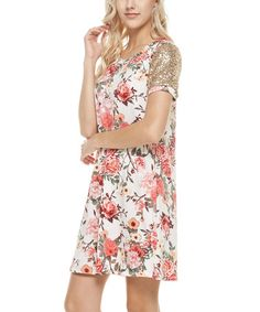 This Ivory Floral Shift Dress is perfect! #zulilyfinds