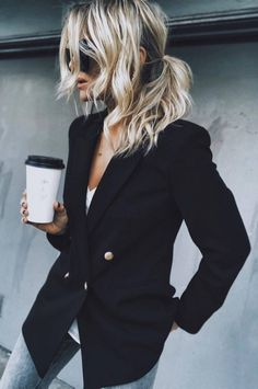 Cool Office Style Black Blazer Plus Top Plus Jeans