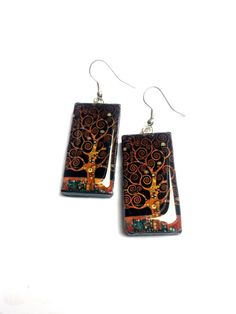Tree of life earrings. Resin jewelry. by AgnesJewels on Etsy, £5.00