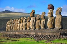 Group of 15 restored moai at Tongariki, Easter Island. The moai were toppled by a tsunami in 1960 and subsequently restored in the 1990s. https://www.facebook.com/SuitcasesAndSunglasses
