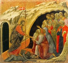 He suffered under Pontius Pilate,was crucified,died,and was buried. He descended into hell.On the third day he rose again._The Apostles Creed // Jesus Christ in Limbo (scene 24) / Jesús desciende a los infiernos // 1308-1311 // Duccio di Buoninsegna // Museo dell'Opera del Duomo, Siena // #HolyWeek
