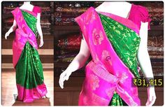 In a typical Kannada marriage ceremony, the bride wears Navari sari and green glass bangles along with traditional gold jewelry. This vibrant color Samudrika Pattu from Pothys is a perfect drape for Kannada brides.