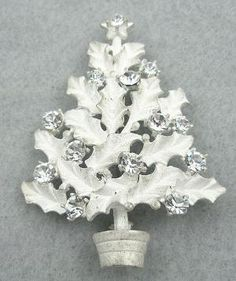 Eisenberg Ice White Holly Christmas Tree Brooch - Garden Party Collection Vintage Jewelry