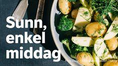 Denne blir definitivt best med norske nypoteter. Da er potetene så gode at man fint kan spise seg mett på denne retten alene. Spis den også gjerne som tilbehør til annen mat.