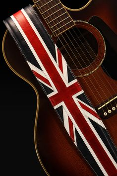Leather Guitar Strap Great Britain Guitar by EthosCustomBrands