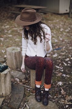 awesome orange ornate printed jeans