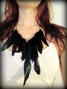 Raven Feathers - Glossy Black Feather Bib Necklace. $18.00, via Etsy.