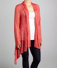 Look what I found on #zulily! Coral Lace Open Cardigan - Plus by CANARI #zulilyfinds