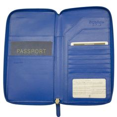This zip wallet doubles as a travel organizer with an interior passport pocket, foreign currency pocket, 6 credit card slots, pen holder, and additional multi-function pockets to hold your boarding pass and other travel documents. The front exterior features a large slide pocket for easy-access to your documents while in transit. The RFID lining protects against any potential identity theft, allowing you to travel care-free.