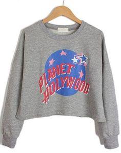 Grey Long Sleeve Letters Earth Stars Print Sweatshirt