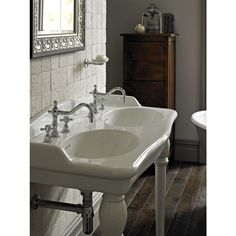 Heritage - New Victoria 3TH Double Console Basin & Console Legs profile large image view 2