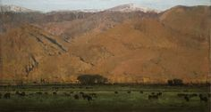 "Michael Workman ""Evening Hills W/ Black Cows"" 14x26"""