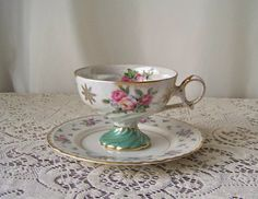 Vintage Teacup and Saucer Pink Roses Pearlized Sage Green Footed Teacup Gift for Mom