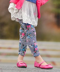 This Pink Stripe Floral Leggings - Toddler & Girls by Just Couture is perfect! #zulilyfinds