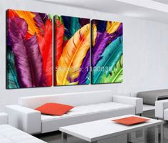 Dealer or Reseller Listed Art Prints Wall Art Decor, Wall Art Prints, Feather Wall Art, Feather Print, Colorful Feathers, Coloured Feathers, Canvas Artwork, Painting Canvas, Painting Frames