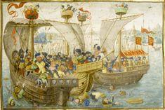 A Naval Battle; Antwerp (detail view), after 1464, from the Roman de Gillion de Trazegnies. Illuminated manuscript.